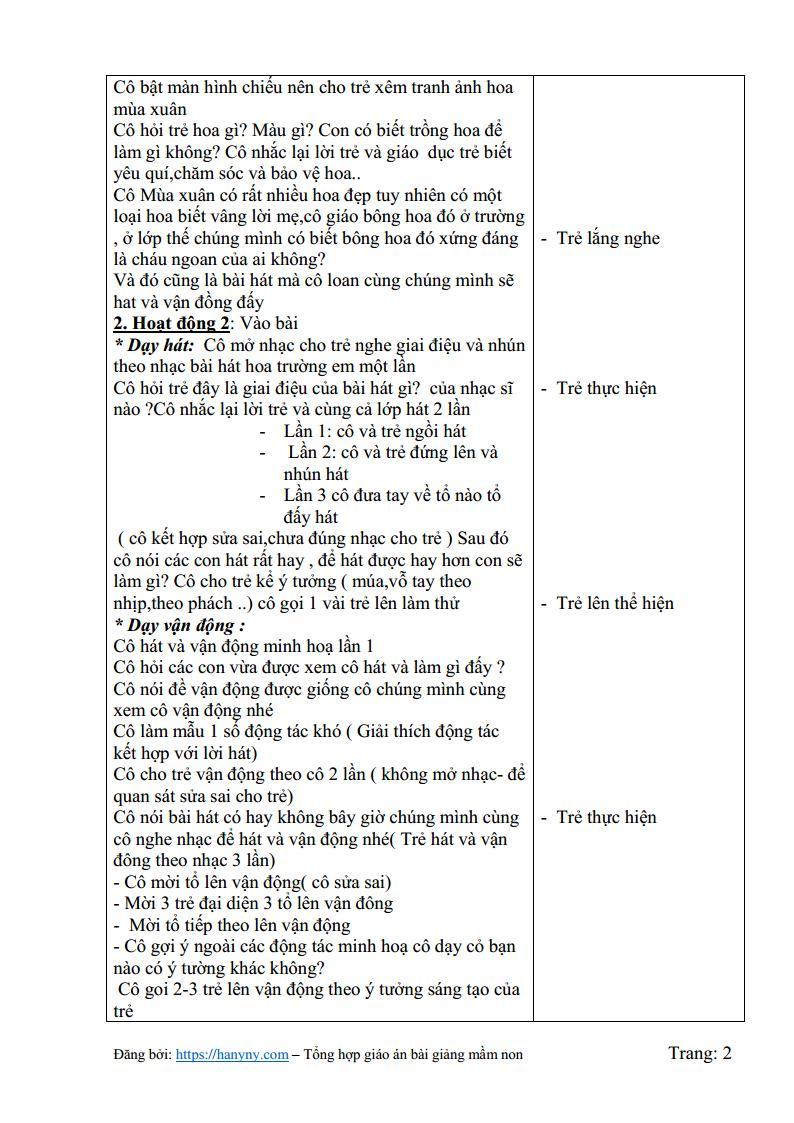 Giáo án mầm non hát và vận động bài  hoa trường em_trang1