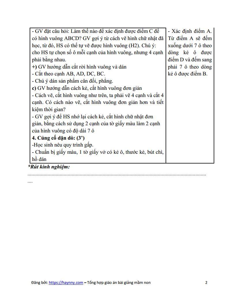 Giáo án mầm non cắt, dán hình vuông | Phát triển thẩm mỹ_trang1