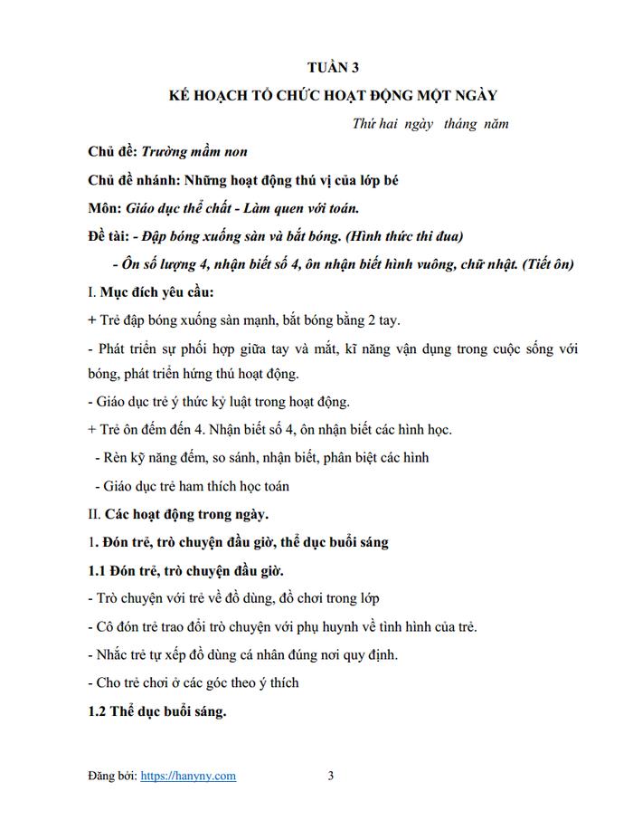 Giáo án mầm non chủ đề trường mầm non 3_trang2