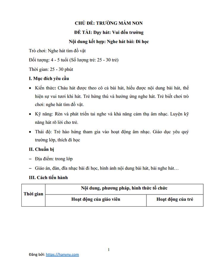 Giáo án mầm non dạy hát vui đến trường | lớp chồi_trang0