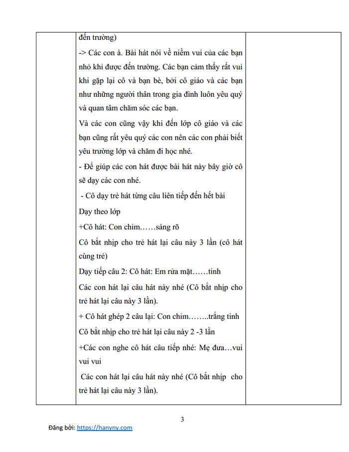 Giáo án mầm non dạy hát vui đến trường | lớp chồi_trang2