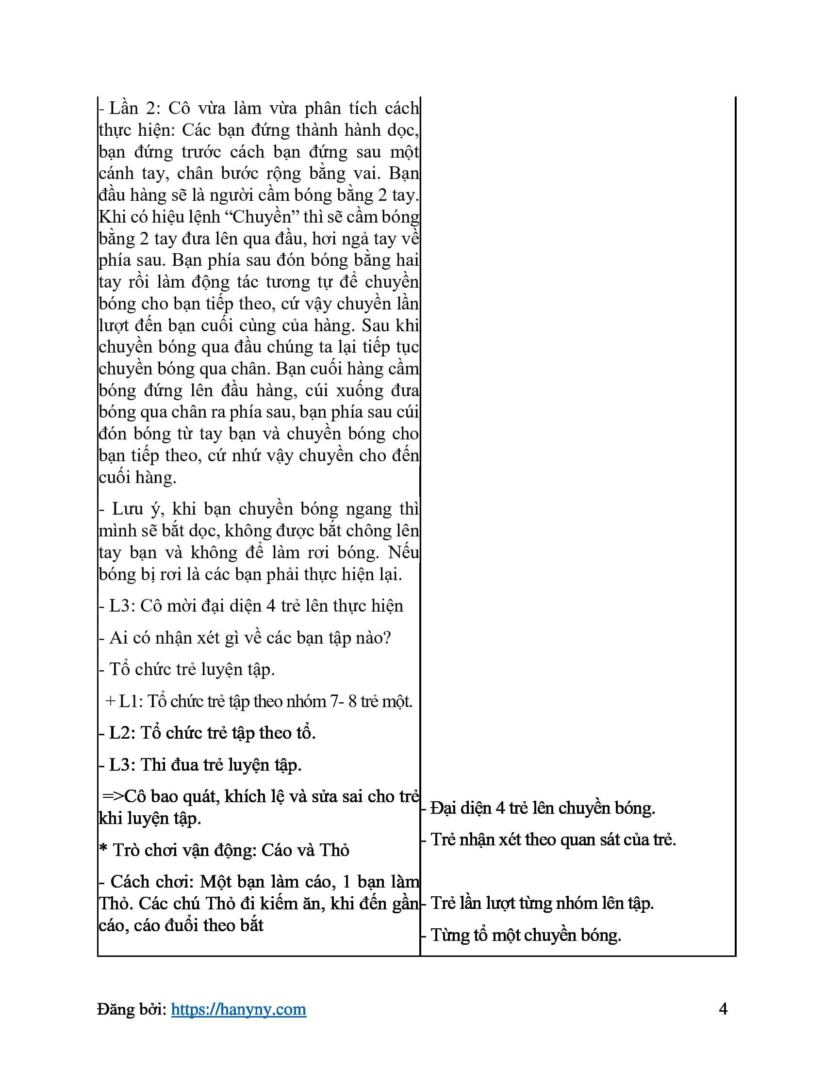 Giáo án mầm non chuyền bắt bóng qua đầu qua chân_trang3