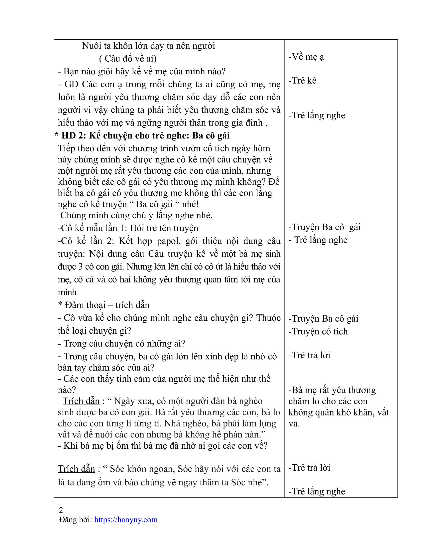 Giáo án kể chuyện cho trẻ nghe - truyện ba cô gái_trang1